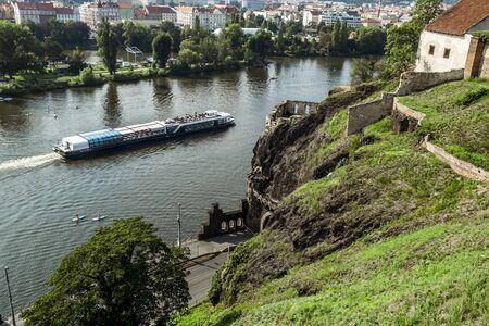 Prague.Czech Republic.August 27, 2019.Pleasure ships on the Vltava river in Prague. Archivio Fotografico - 138741125