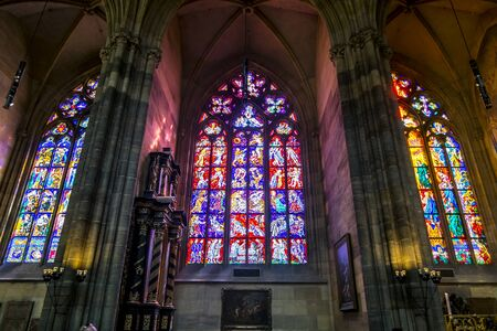 Prague.Czech Republic.August 31, 2019.Colorful stained Glass Windows on the Windows of St. Vitus Cathedral in Prague. Archivio Fotografico - 139540565