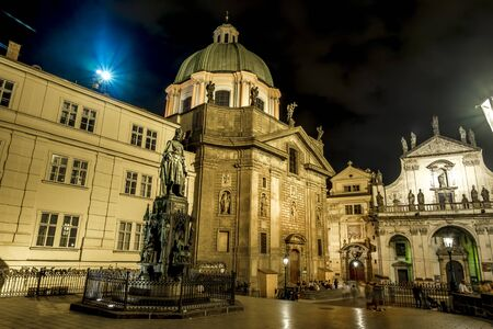 Prague.Czech Republic.August 28, 2019.The area of the crusaders and the Church of St. Salvator in Prague . Archivio Fotografico - 139609096