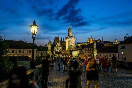 Prague.Czech Republic.August 28, 2019.Charles bridge in Prague at night illumination Archivio Fotografico - 139609097