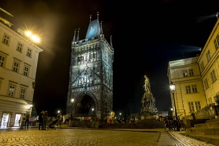 Prague.Czech Republic.August 28, 2019.Bridge tower and the Square of the Crusaders in Prague at night lights Archivio Fotografico - 139609108