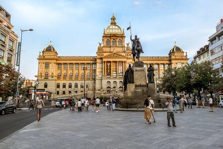 Prague.Czech Republic.August 27, 2019.The national Museum on Wenceslas square in Prague. Archivio Fotografico - 139609112