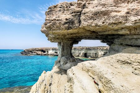 Cape Greco.Cyprus.25 may 2016. The sea and the rock arch in the Cape Greco .