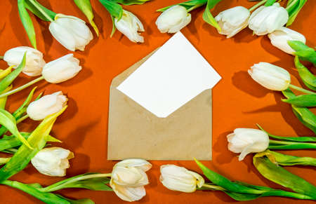 A bouquet of beautiful tulips and an envelope with congratulations on an orange background top view. Background of Mother's Day, International Women's Day. Holiday, give a gift. Archivio Fotografico