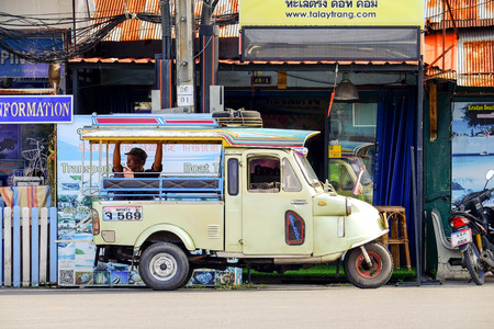 waited: TRANG PROVINCE,THAILAND 23 : Motor tricycle waited for passenger in the city centre of Trang Province,November 23,2016,Thailand.