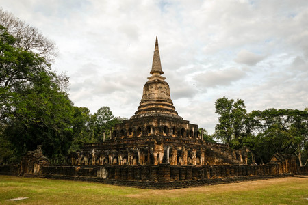 An elephant temple siege is at Si Satchanalai Historical Park,one of Historic Town of Sukhothai and Associated Historic Towns,Sukhothai Province,Thailand.