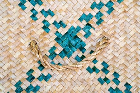 Texture of Thai wicker with handle in closeup. Stock Photo