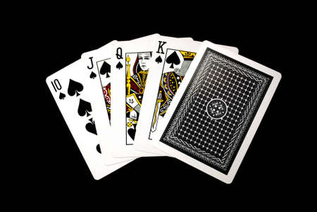 Poker hand, probably to get a Royal Flush, if just the last one is ace of spades  Stock Photo - 16419446