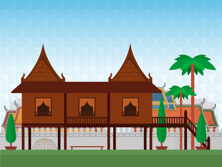 Thai Traditional House Illustration