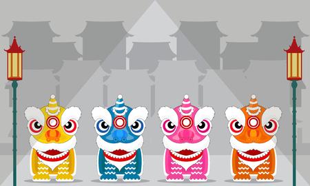 thai dancing: Chinese lion dance festival