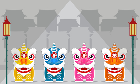 Chinese lion dance festival