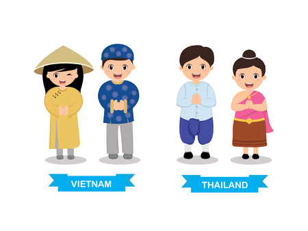Kids in traditional costume Thailand and Vietnam