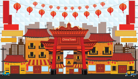 China reisoriëntatiepunten. Vector en illustratie.