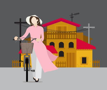 Vietnam girl vector illustration Illustration