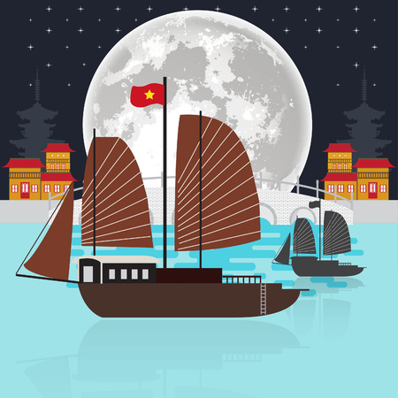 Vietnam boat at night Vector illustration.