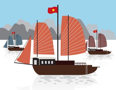 Vietnam boat Vector illustration.