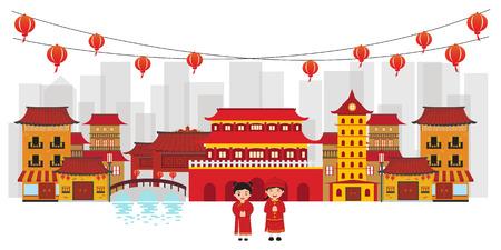 中華街ベクトル図です。  イラスト・ベクター素材