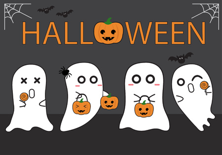 ghost in halloween Vector illustration.