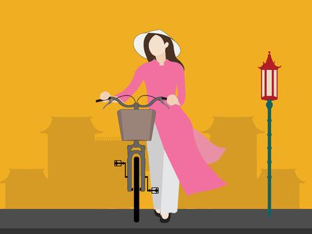 Fille du Vietnam et vélo Banque d'images - 88545925