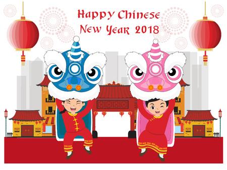 Felice anno nuovo cinese con danza del leone Archivio Fotografico - 93543303