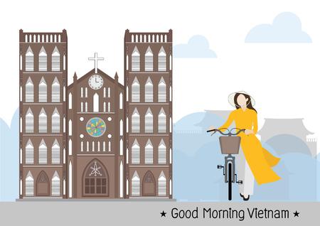 Vietnamese Woman and Saint Joseph Cathedral in Vietnam Hanoi, vector Illustration
