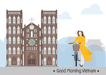 Vietnamese Woman and Saint Joseph Cathedral in Vietnam Hanoi, vector Çizim