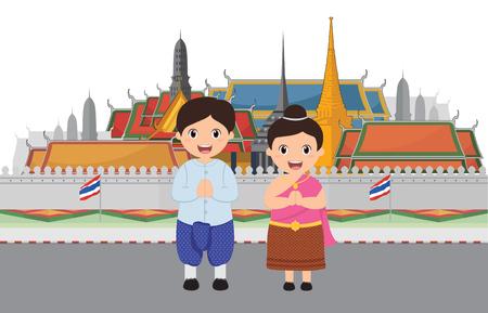 バンコクタイで訪問するグランドパレスの子供たち  イラスト・ベクター素材