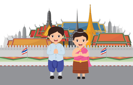 Kids in Grand Palace to visit in Bangkok Thailand
