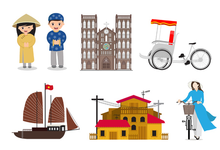 Vietnamese landmarks and lifestyle vector