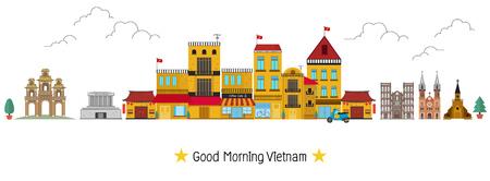 Vietnam town in Hanoi Vector illustration.