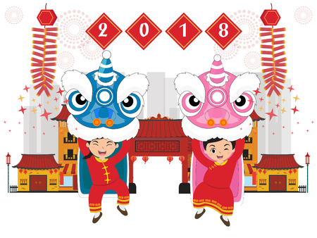 Chinese new 2018 year. with lion dance vector Illustration