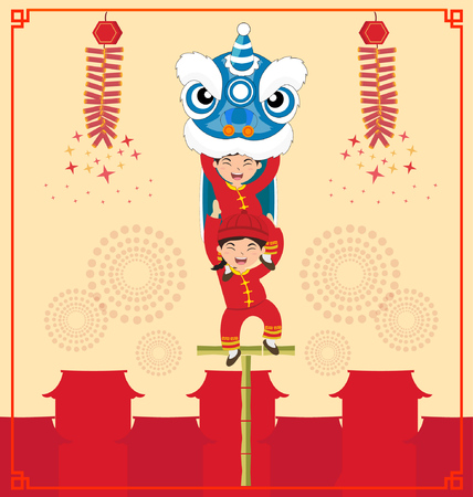Chinese New Year Lion Dance, vector illustration