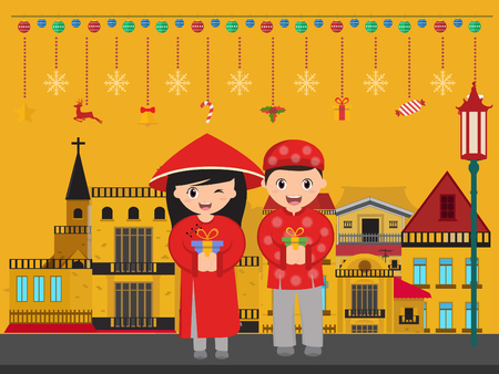 Vietnamese boy and girl with gifts new year.