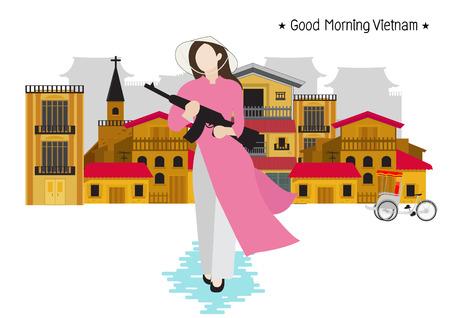Vietnamese woman holding gun in town. vector Illustration Illustration