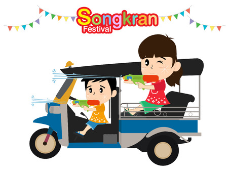 Kids playing with water gun. Songkran festival in Thailand