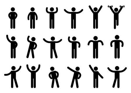 Person Basic Body Language Pictogram, symbol sign pictogram on white - Illustration  イラスト・ベクター素材