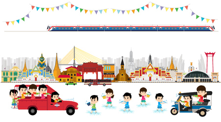 Songkran Festival at Thailand, vector template Çizim