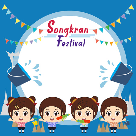 Kids playing to Songkran Festival in Thailand Illustration