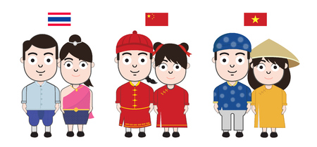 Kids Asian in traditional costume. vector illustration Vettoriali