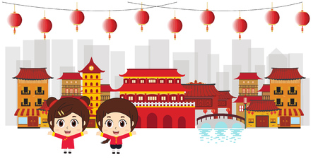 Kids in Chinatown Celebration vector