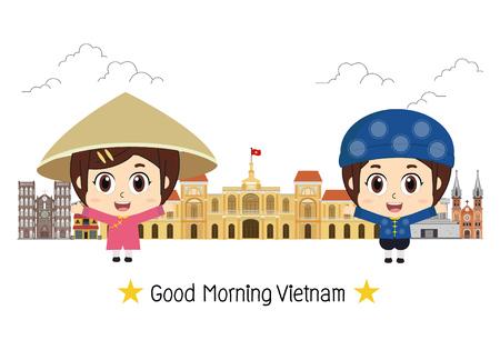 Travel to Vietnam. Set of traditional cultural symbols . Vietnamese attractions. Çizim