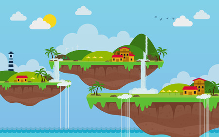 Tropical island. paradise ocean landscape. vector background Illustration