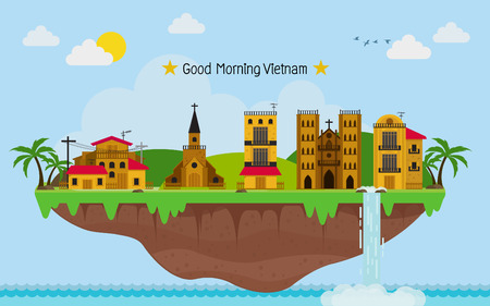 Tropical island. paradise ocean landscape. and Vietnam town with blue sky Illustration