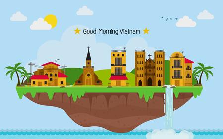 Tropical island. paradise ocean landscape. and Vietnam town with blue sky Ilustração Vetorial