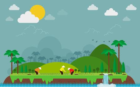 Vietnamese planting rice on islands, green hills. vector illustration