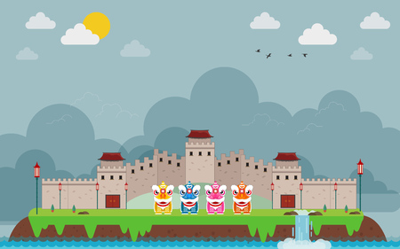 Great wall of China on island and kids Chinese