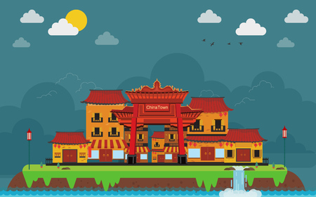 China town in island landscape. the flat style. Lake, meadows and the mountains