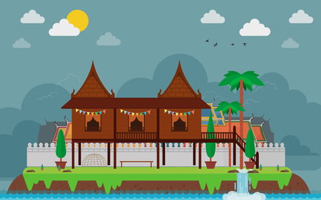 Tropical island in ocean. Landscape with Thai Traditional House, vector