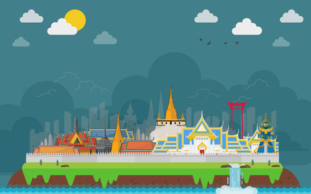 Bangkok in Thailand and Landmarks and travel in island