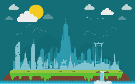 Bangkok in Thailand Landmarks and travel island. vector illustration